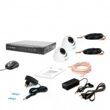 Комплект видеонаблюдения Tecsar AHD 2OUT-2M-AUDIO DOME