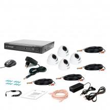 Комплект видеонаблюдения Tecsar AHD 4OUT-2M-AUDIO DOME