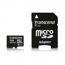 Карта памяти Transcend MicroSDHC 16GB Class 10 + SD-adapter (TS16GUSDHC10)