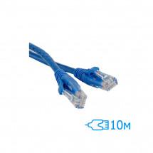 Патч-корд 10м UTP Cat.5e литой синий RJ45, CCA